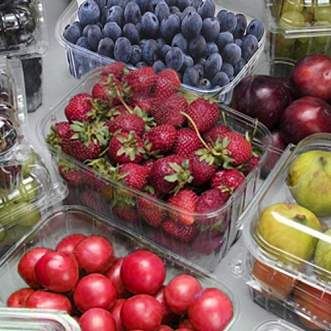 Plastic packaging for vegetables, fruits and berries